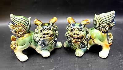 Pair Of Vintage CHINESE Porcelain FOO DOGS  - C28