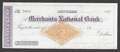 1878 Lanman & Kemp New York Bank Check RN-G1