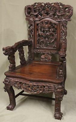 Antique Chinese Export Hand Carved Hardwood Detailed Dragon Throne Arm Chair
