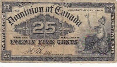 1900 Canada 25 Cents Fractional Note, Pick 9b