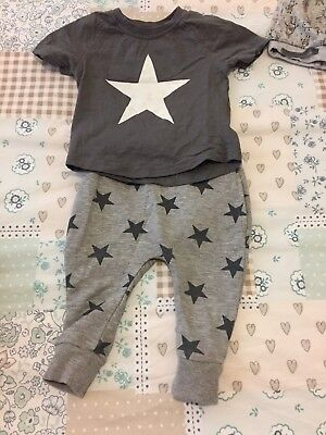 Baby Boys Grey Star Outfit - Next 6/9 Months