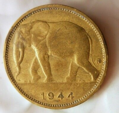 1944 BELGIAN CONGO FRANC - ELEPHANT - Rare Exotic African  Coin - Lot #F22