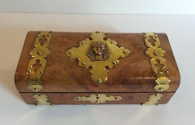 19th C. Burl Wood Sewing Box, Brass Studs & Banding with Pharoah Medallion