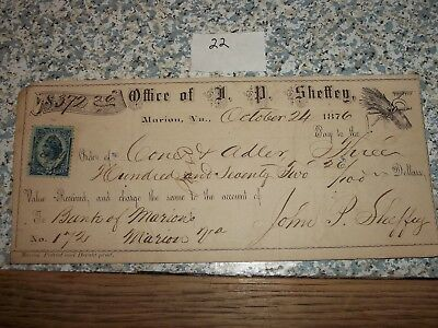 1876 Check Bank Of Marion Marion Virginia John Sheffey Cone & Adler Abingdon, Va