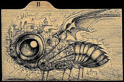 old index card insect skull art dark pop surrealism bats outsider ink drawing