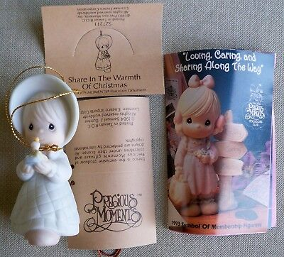 1993 Precious Moments Share In The Warmth of Christmas MIB Ornament 527211