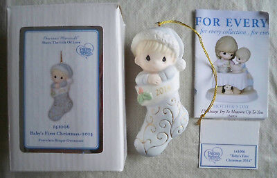 2014 Precious Moments Baby's First Boy Porcelain Christmas NIB Ornament 141006