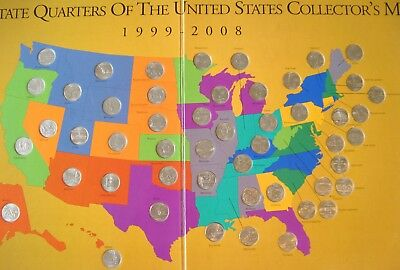 First State Quarters of the U. S. Collector's Map 1999-2008 + 50 Quarters  B11