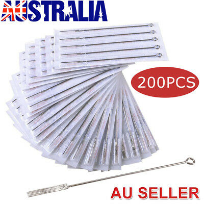 200PCS Disposable Sterile Tattoo Needles Round Liner Shader Mixed Sizes Supplies