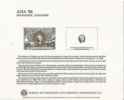B94-ANA'86-Milwaukee,WI, BEP Souvenir Card, 2nd Issue 5 cent Fractional Currency