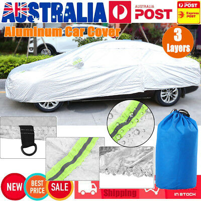 Aluminum 3 Layer waterproof Double thicker car cover rain resistant UV Protect