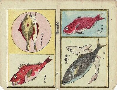Antique Japanese Woodblock Print. 4 Pictures of Sea Life on Rice Paper (V3748)