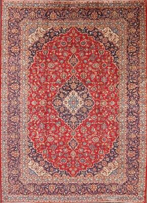 """Clearance! Floral Red Wool 10x13 Kashan Persian Oriental Area Rug 13' 1"""" x 9' 7"""""""