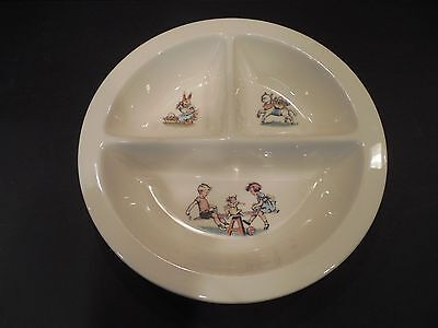 Vintage Baby Toddler Child Divided Feeding Dish Nursery See Saw Bunny Lamb