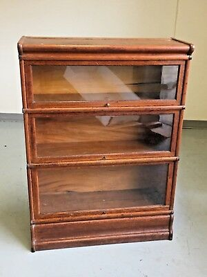 ANTIQUE LAWYERS BARRISTERS BOOK CASE The GLOBE WERNICKE 3 SECTION BOOK CASES