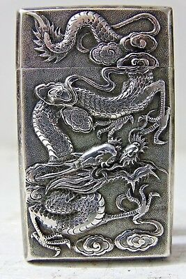 Finest Quality Chinese Silver Card Case - Stunning Dragon & Bird Decoration Rare