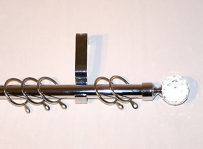 19mm Polished Chrome Curtain Pole System Crystal Ball Finials 1.2m 1.5m 2.4m 3m