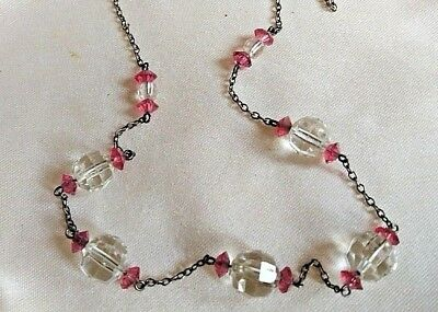 Vintage Jewellery Delicate & beautiful Art Deco Czech glass crystal necklace