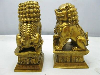 1 Pair Brass Plated Chinese Fengshui Lions Statue
