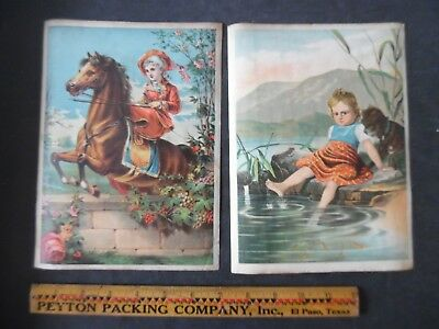 Lot of 2 Large Victorian Trade Cards Central City Soap Company Anti Washboard