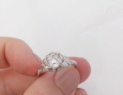 Fine 1ct old mined cut Diamond solitaire Art deco platinum ring, 950