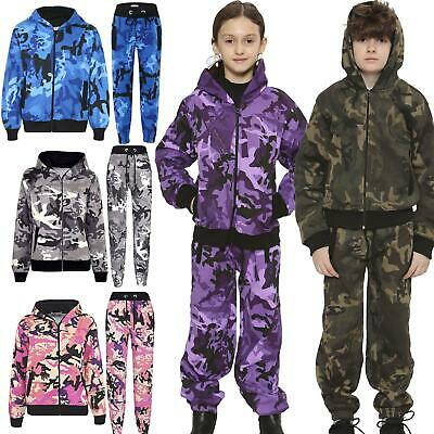 Kids Tracksuit Boys Girls Designer's Camouflage Jogging Suit Top Bottom 5-13 Yr