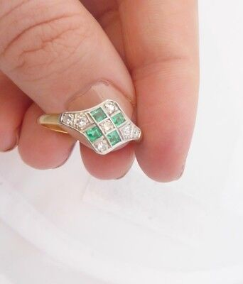 18ct/18k gold exceptional Diamond & Emerald Art deco cluster ring, boxed, 750