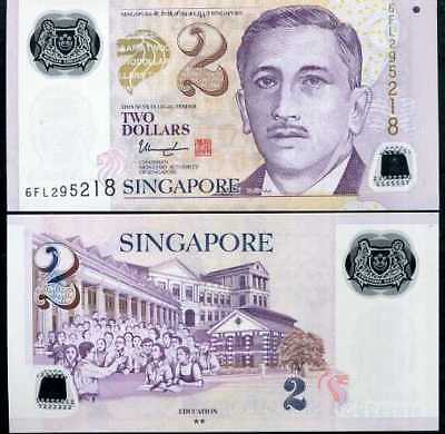 Singapore 2 Dollars 2017 / 2018 P New Polymer W/ 2 Solid Star Back Lot 10 Unc