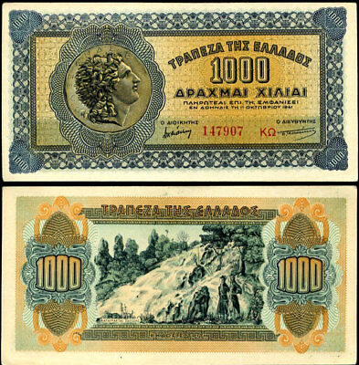 Greece 1000 1,000 Drachmai 1941 P 117 Au-Unc