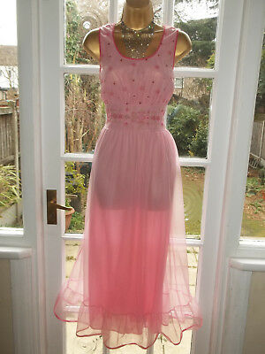 """Vintage 1970's Double Layered Nylon Embroidered Nightie Nightdress Gown 38"""""""