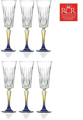 Set of 6x RCR Gipsy Italian Crystal Champagne Flutes Glasses Set 210ml