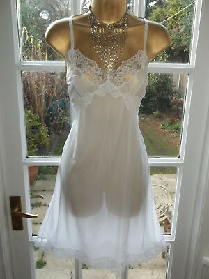 """Vintage 1950s/60s Will-o-the-Wisp by Minster Sheer Nylon Lacy Full Slip 38"""" NWT"""