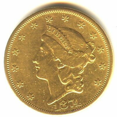 1874 CC $20 Gold Type 2 Double Scarce Carson City Gold Type Coin.