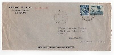 1937 EGYPT Air Mail Cover CAIRO to LOS ANGELES CA USA
