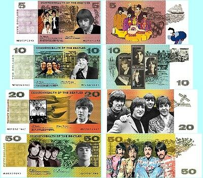 Set Of 4 Beatles Fun Australian Notes 2 Sided
