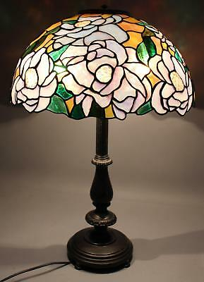 Authentic Christopher Foster Leaded Opalescent Art Glass Lampshade & Table Lamp