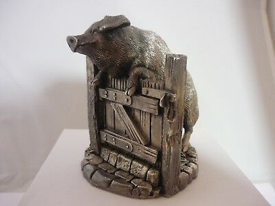 Stunning Large Vintage Sterling Silver Pig On A Gate/Sty By Comyns
