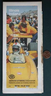 1985 Indianapolis-Indy 500 Road Map of Indiana & Illinois-Rick Mears on cover!