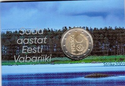 COIN CARD 2 EURO COMMEMORATIVO ESTONIA 2018 100° Repubblica d'Estonia
