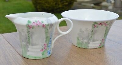 Vintage Shelley Bone China Art Deco Milk Jug & Sugar Bowl