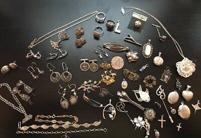 253g All Wearable Vintage Sterling Silver Jewelry, No Scrap