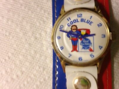 Cool Blue Pabst Blue Ribbon Super Cool Watch vintage 1970's ad Swiss made Marcel