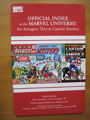 Official Index of the MARVEL UNIVERSE  # 1 - AVENGERS,THOR,CAPTAIN AMERICA. 2010