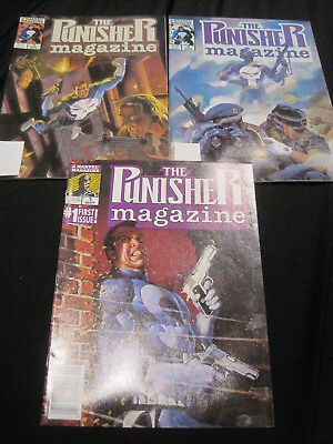 The PUNISHER MAGAZINE : ISSUES 1,2,3. CLASSIC 1989 MARVEL B & W SERIES
