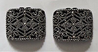 Antique French Victorian Leather and Cut Steel Shoe Buckles