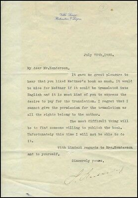 Sergei RACHMANINOFF (Composer): Signed Letter about Nikolai MEDTNER (Pianist)
