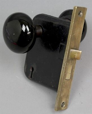 Antique BRASS & METAL DOOR MORTISE LOCK LOCKSET w/BLACK PORCELAIN KNOBS