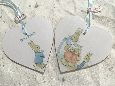 2 X Cute Peter Rabbit Wooden Heart 10cm Door Hanger Keepsake Gift Nursery