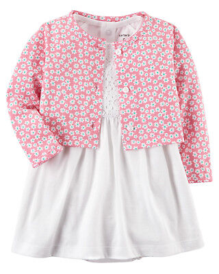 Carters 12 18 24 Months Pink Cardigan Lace Dress Baby Girl Clothes