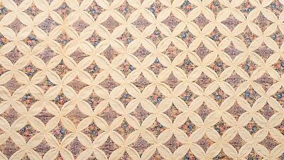 "Antique 1800's Cathedral Window Cotton Quilt Large 98"" x 76"""